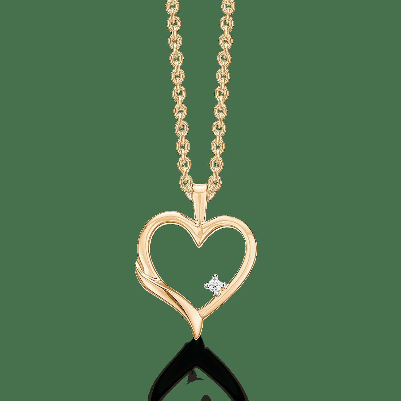Guld Hjerte Med Diamant