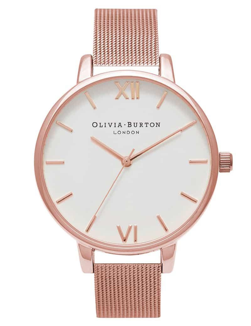 Olivia Burton WHITE DIAL ROSE GOLD MESH